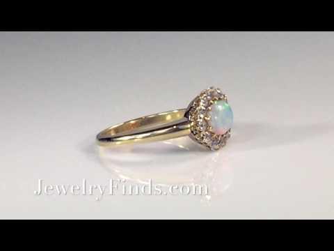 Antique Opal Diamond Ring Circa 1890's Victorian Diamond Halo Ring 14k Rose Yellow Gold