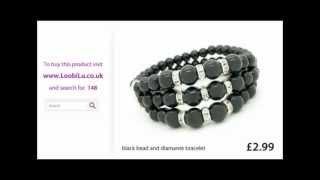 Black Bead And Diamante Bracelet From Loobilu Thumbnail
