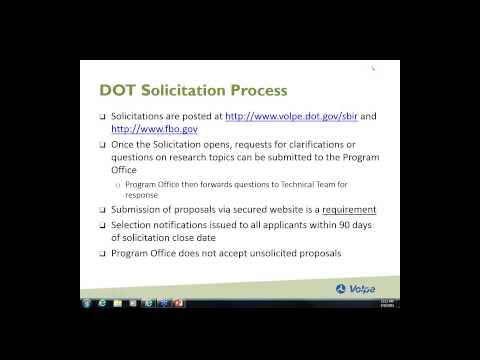 Intro to the Dept  of Transportation SBIR Program Sept. 16, 2015
