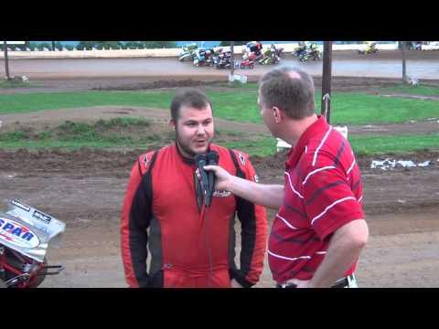 Arron Spahr in victory lane at Path Valley Speedway