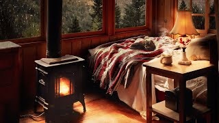 Rain & Fireplace Sounds | Cozy Cabin Ambience 8 hours | Sleep, Study, Meditation