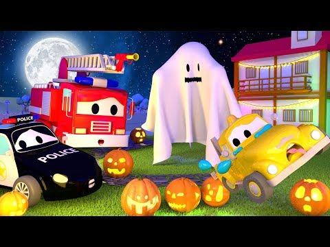 A Super Patrulha: caminhão de bombeiro & carro de polícia, e o Fantasma na Cidade do Carro HALLOWEEN