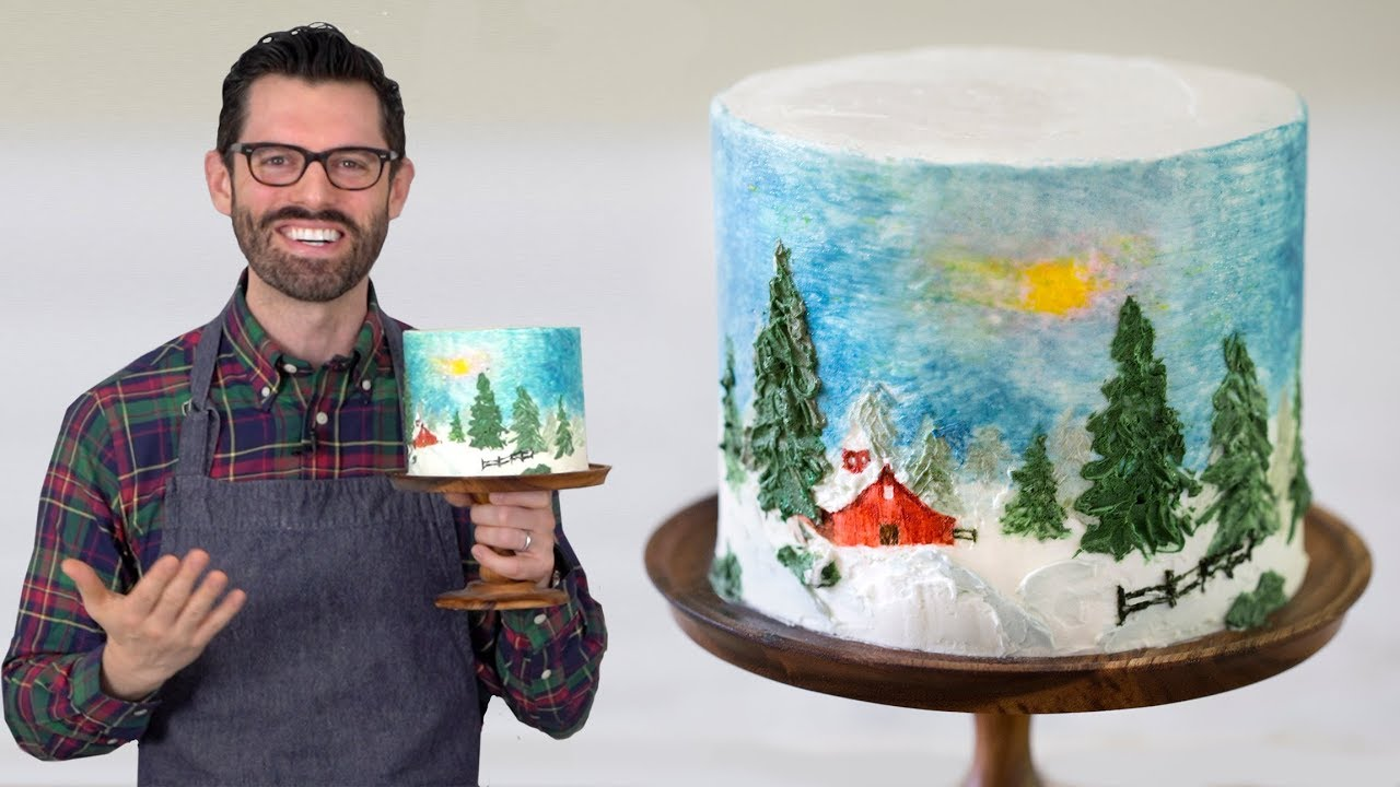 Bob Ross Cake Decorating With Buttercream Youtube