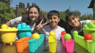 Guka Nastya and Maria pretend play - Ball Pit Balls on the water cups
