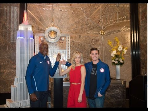 United States Olympic Committee w/ Carl Lewis, Nastia Liukin & David Boudia - ESB Lighting Ceremony