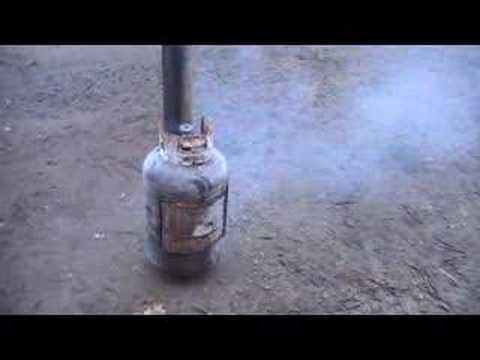 Propane tank potbelly woodstove in the rough - YouTube