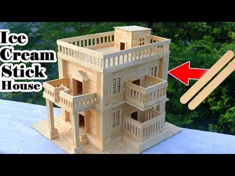 Cara Simpel Membuat Miniatur Rumah Sederhana Dari Stik Es Krim.