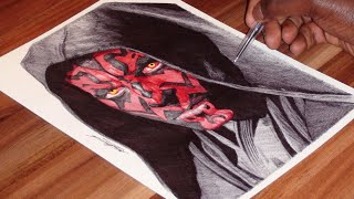 Pen Drawing Of Darth Maul - Star Wars - Freehand Art