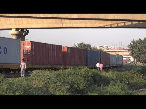 Bangladeshi Freight Train Passing Kuril Flyover, Dhaka, Bangladesh