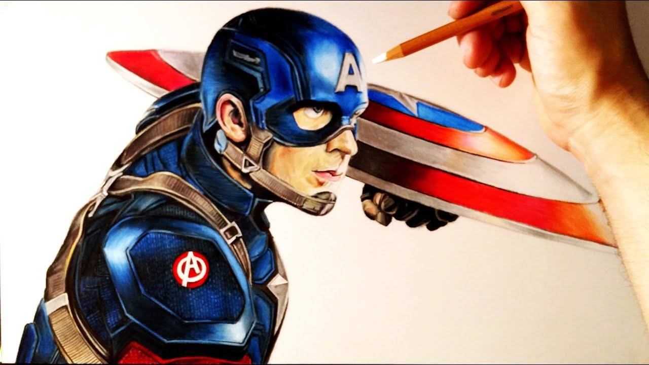 Cómo Dibujar A Capitán América Realista Con Lápices De Colores How To Draw Captain America