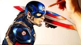 Cómo Dibujar a Capitán América Realista con lápices de colores | How to draw Captain America