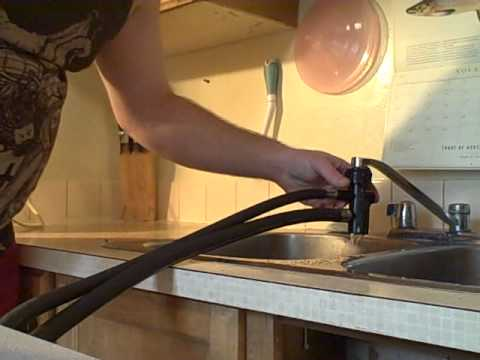 how to attach the unicouple hose for a portable dishwasher to a regular faucet