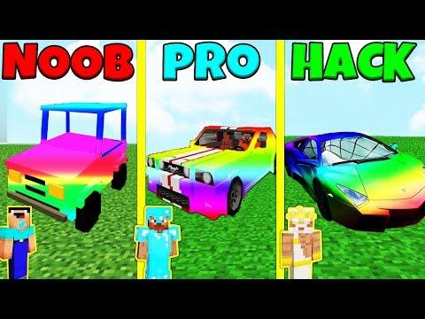Minecraft Battle: NOOB vs PRO vs HACKER: RAINBOW CARS CHALLENGE / Animation