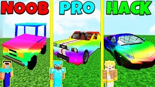 Minecraft Battle: NOOB vs PRO vs HACKER: RAINBOW CARS CHALLENGE / Animation