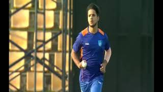Rasikh Salam bowling in a practice match against Lancashire County Club   Reliance 1  Mumbai Indians