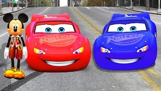 Disney Pixar Cars Race, Mickey Mouse Racing with Lightning mcqueen