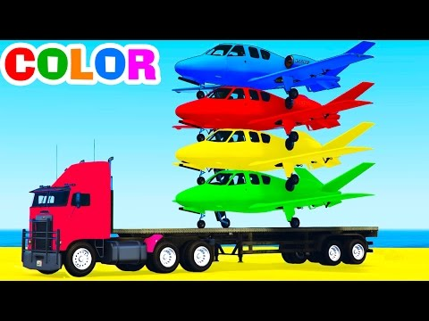 FUNNY PLANES on TRUCK in Spiderman Cars Cartoon for Kids & Colors for Children w Nursery Rhymes
