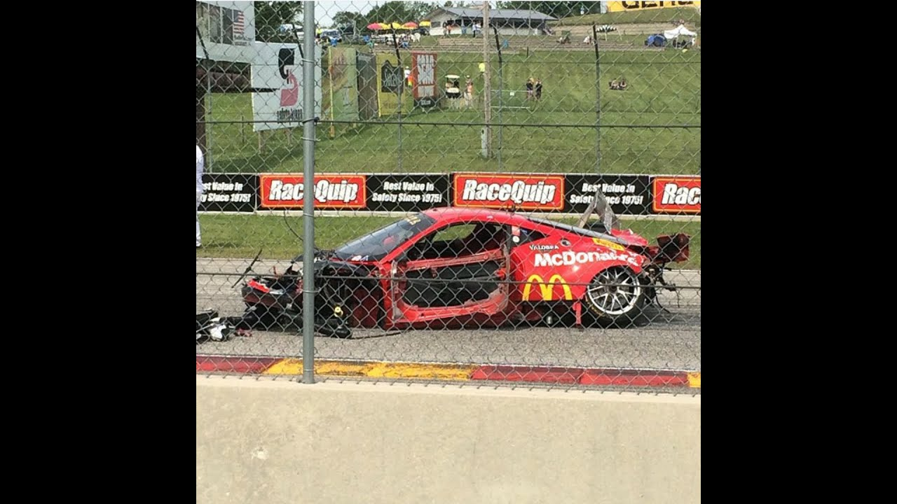 2015 Ferrari 458 Speciale >> INSANE 160mph Ferrari 458 CRASH at Road America 2015 [Spectator View] - YouTube
