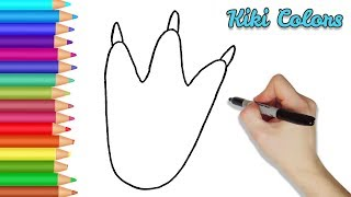 How to Color Dino Footprint | Teach Drawing for Kids and Toddlers Coloring Page Video