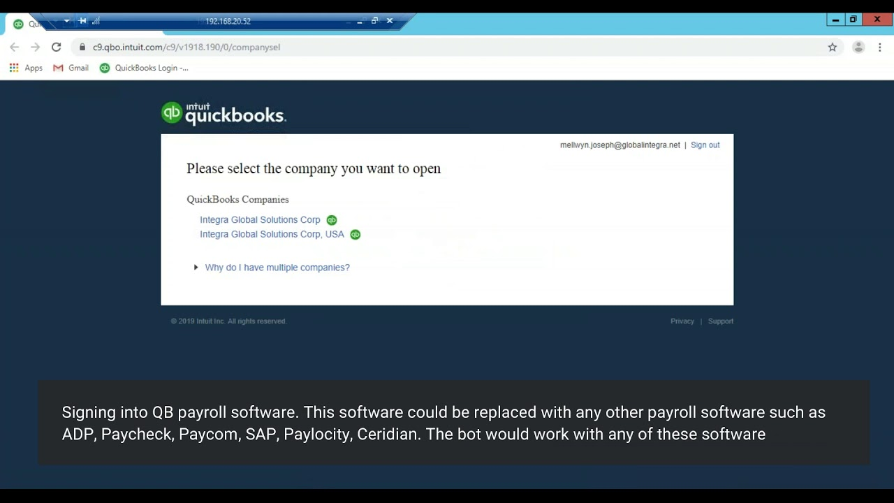 Payroll Robotic process automation (RPA) with Quickbooks ...