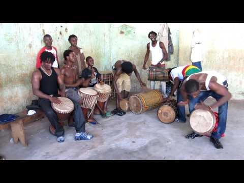 Mendiani - Fana Bangoura with members of Ballet Fareta, in Conakry, Guinea