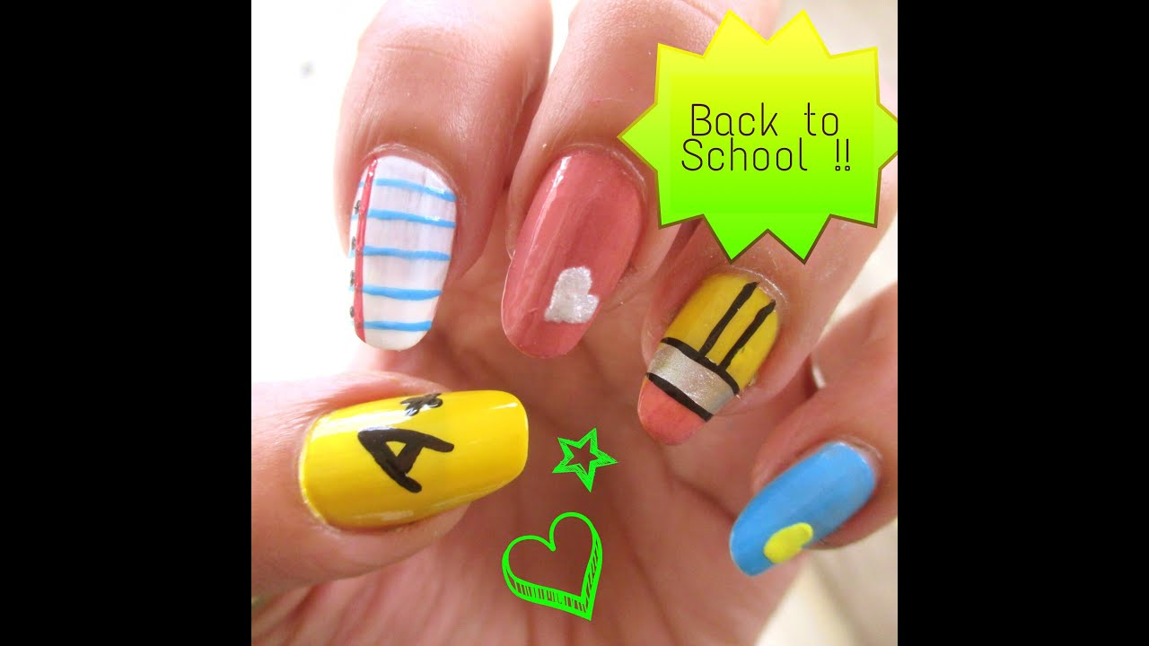 Back To School : Quick and Easy nail art designs !! - YouTube