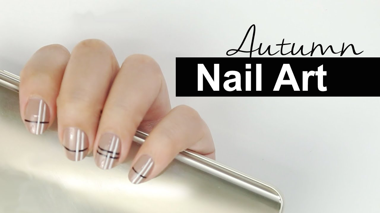 Simple Autumn Nail Art Beige Nail Art Wishtrend Youtube