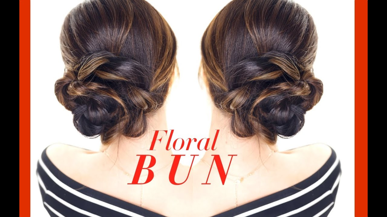 FLORAL Side BUN Hairstyle 👸★ Easy Holiday Updo Hairstyles YouTube