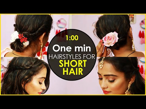 Stylish Wedding Hairstyle - 4 EASY AND BEAUTIFUL HAIRSTYLES FOR SHORT HAIR thumbnail