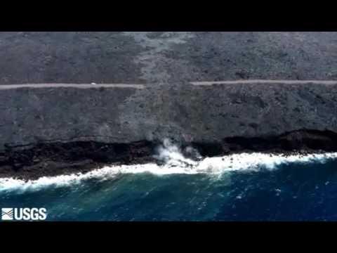 Lava Flow Reaches Ocean - Video Courtesy USGS HVO