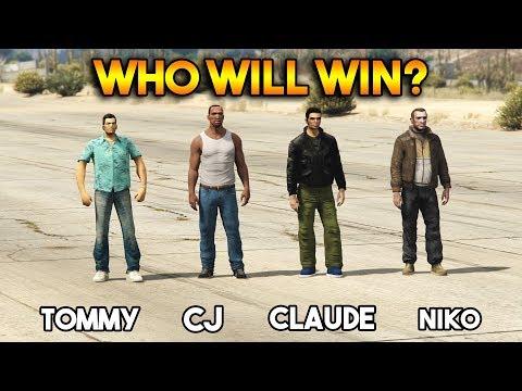 GTA : CJ VS TOMMY VS CLAUDE VS NIKO (WHO WILL WIN?)