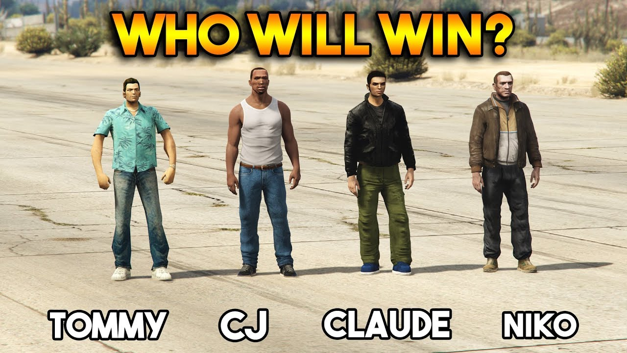 GTA : CJ VS TOMMY VS CLAUDE VS NIKO (WHO WILL WIN?)