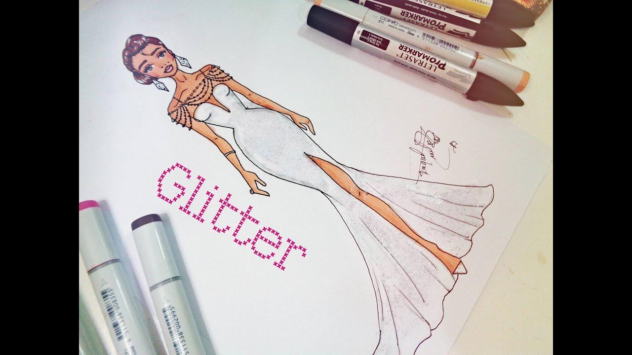 Desenho De Moda Rapido Vestido Com Glitter Youtube