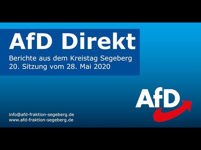 AfD-Fraktion Segeberg - Bericht der Kreistagssitzung vom 28. Mai 2020