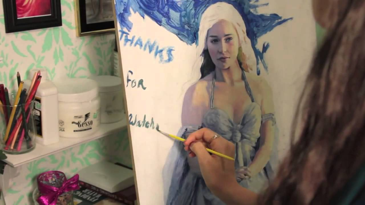 Game with watercolor - Game Of Thrones Khaleesi Watercolor Speed Painting
