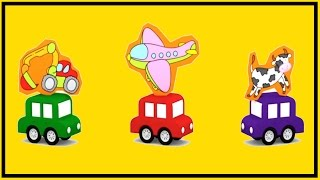 Magic TRAIN Cartoon - Learn Colors with Airplane,Helicopter,Rocket JIGSAW PUZZLE!