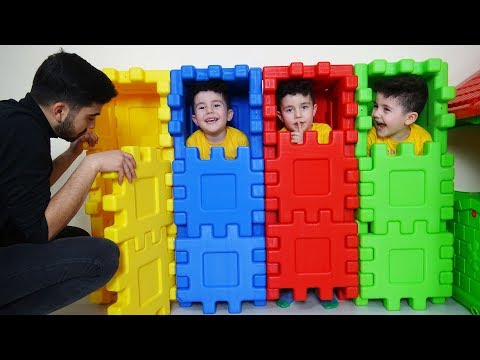 Yusuf ve Day谋s谋 Saklamba莽 Oynad谋lar | Kids playing Hide and Seek with colored puzzle