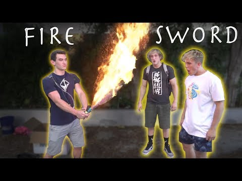 LOGAN AND JAKE PAUL VS MY FIRE SWORD!!!