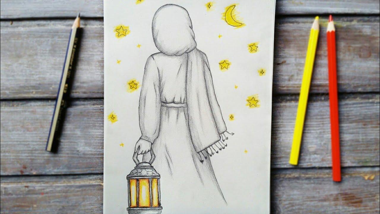 رسم سهل تعليم رسم بنت محجبة من الخلف تحمل فانوس رمضان سهل خطوه
