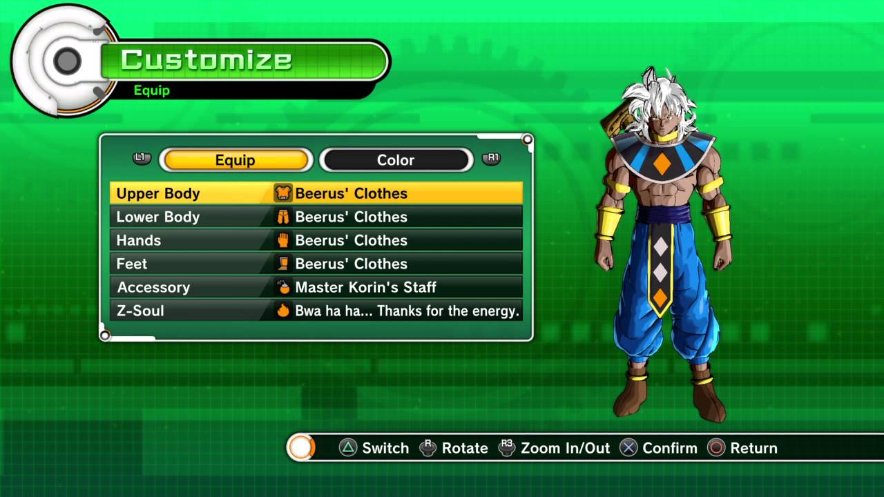 All Beerus clothes in Dragon ball Xenoverse