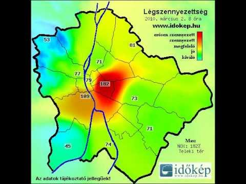budapest térkép 2010 Légszennyezettségi térkép Budapest 2010 03 02   YouTube budapest térkép 2010