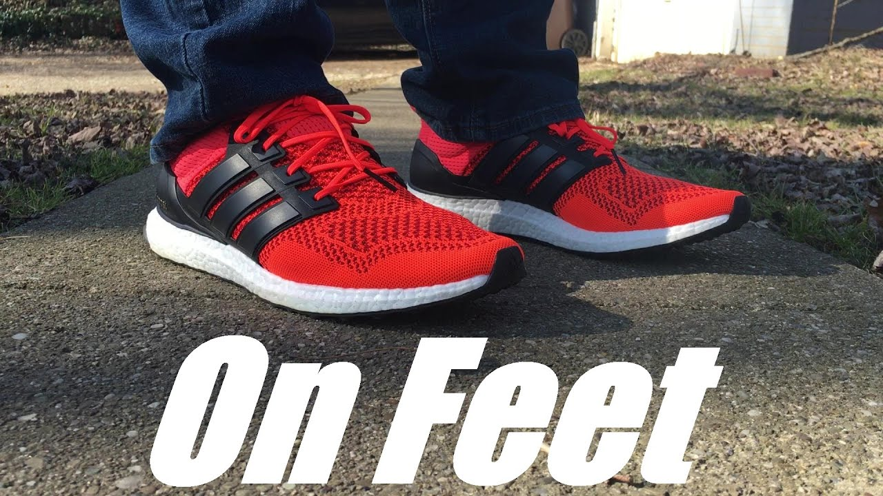 Adidas Ultra Boost Red On Feet