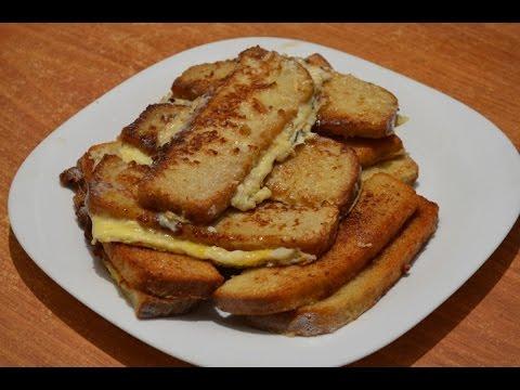 Гренки с яйцом и молоком. French toast with milk and eggs.