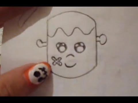 Dibuja un frankenstain kawai f cil halloween d a de - Dibujos de halloween faciles ...