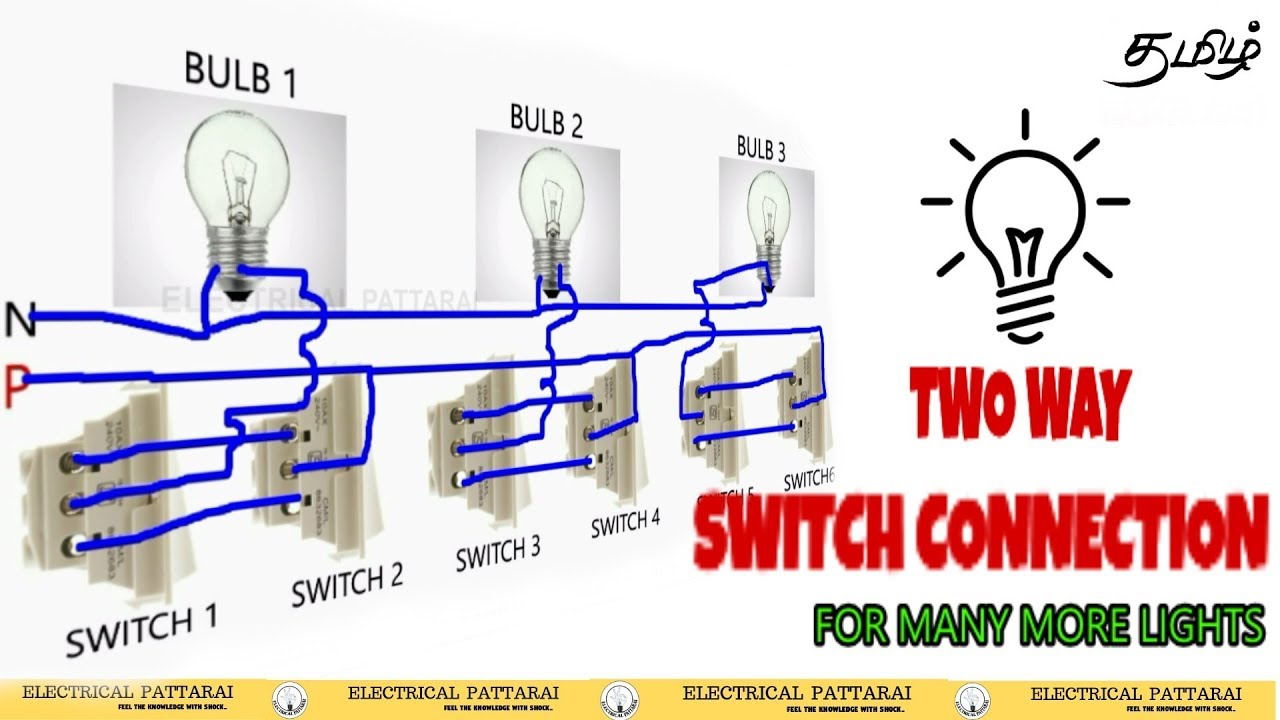 Two Way Switch Connection Add For Many More Lights Animation