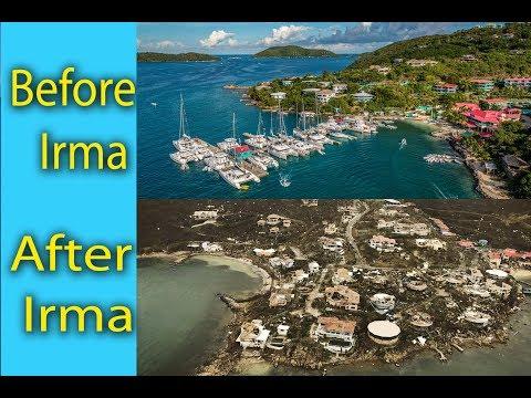 Hurricane Irma : Before and after: Leverick Bay, Virgin Gorda, British Virgin Islands, resorts,