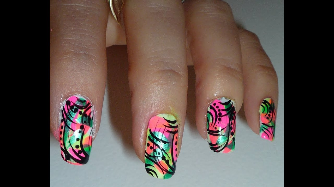 Bright Neon Abstract Nail Design