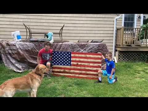 Extra Large Wooden Flag Made From Pallets