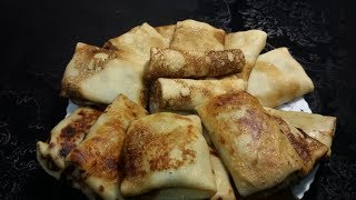 Блинчики с картофельным пюре и солёными огурцами