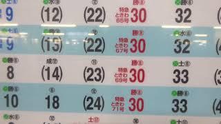 明日からのダイヤ改正で特急ときわは上野駅8番線からの発着に変更された時刻表ボード